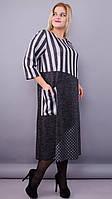 Комбинированное платье плюс сайз «Коллаж» (Синее, серое   50-52, 54-56, 58-60, 62-64,66-68)