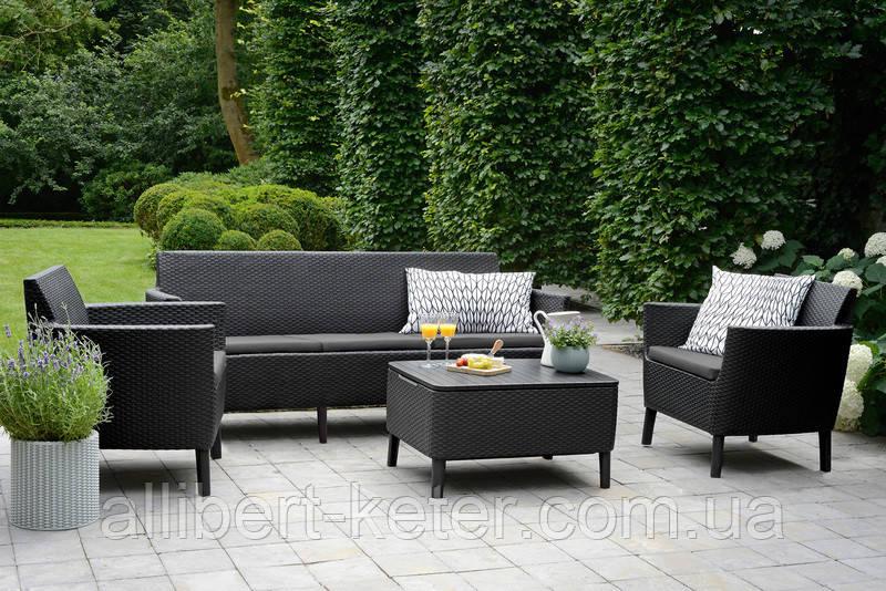 Набір садових меблів Salemo 3 Seater Set Graphite ( графіт ) з штучного ротанга ( Allibert by Keter )