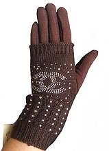 Перчатки теплые женские коричневые 021А