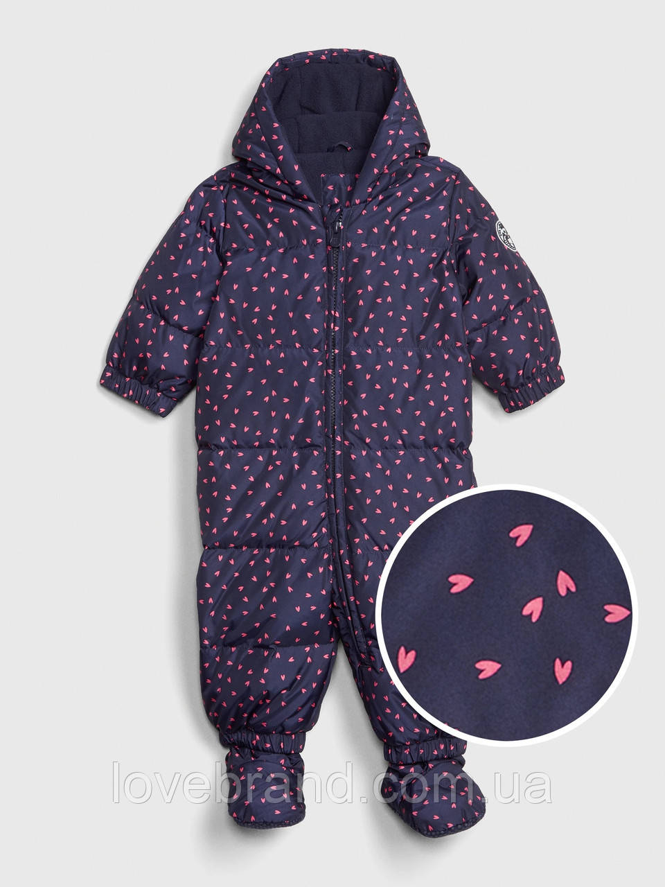 Пуховый комбинезон GAP для девочки синий в сердечки на зиму