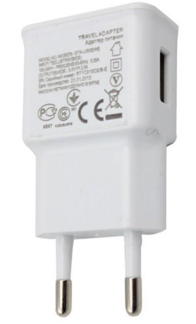 Адаптер USB 1000 mA на 220В белый (маркировка 2 А)