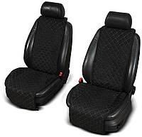 Накидки на передние сидения черные широкие стеганые для автомобиля алькантара