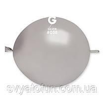 """Латексные воздушные шарики 13"""" металлик 38 серебро, Gemar"""
