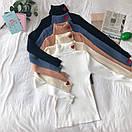 Женский свитер гольф в рубчик с вышивкой, фото 2