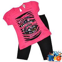 Детский костюм (футболка и бриджи), трикотаж, для девочек 2-5 лет (4 ед в уп)
