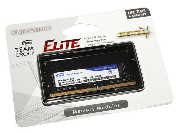 Оперативная память для ноутбука 4 Гб/Gb DDR4, 2400 MHz, Team, 1.2V, CL16 (TED44G2400C16-S01), фото 2