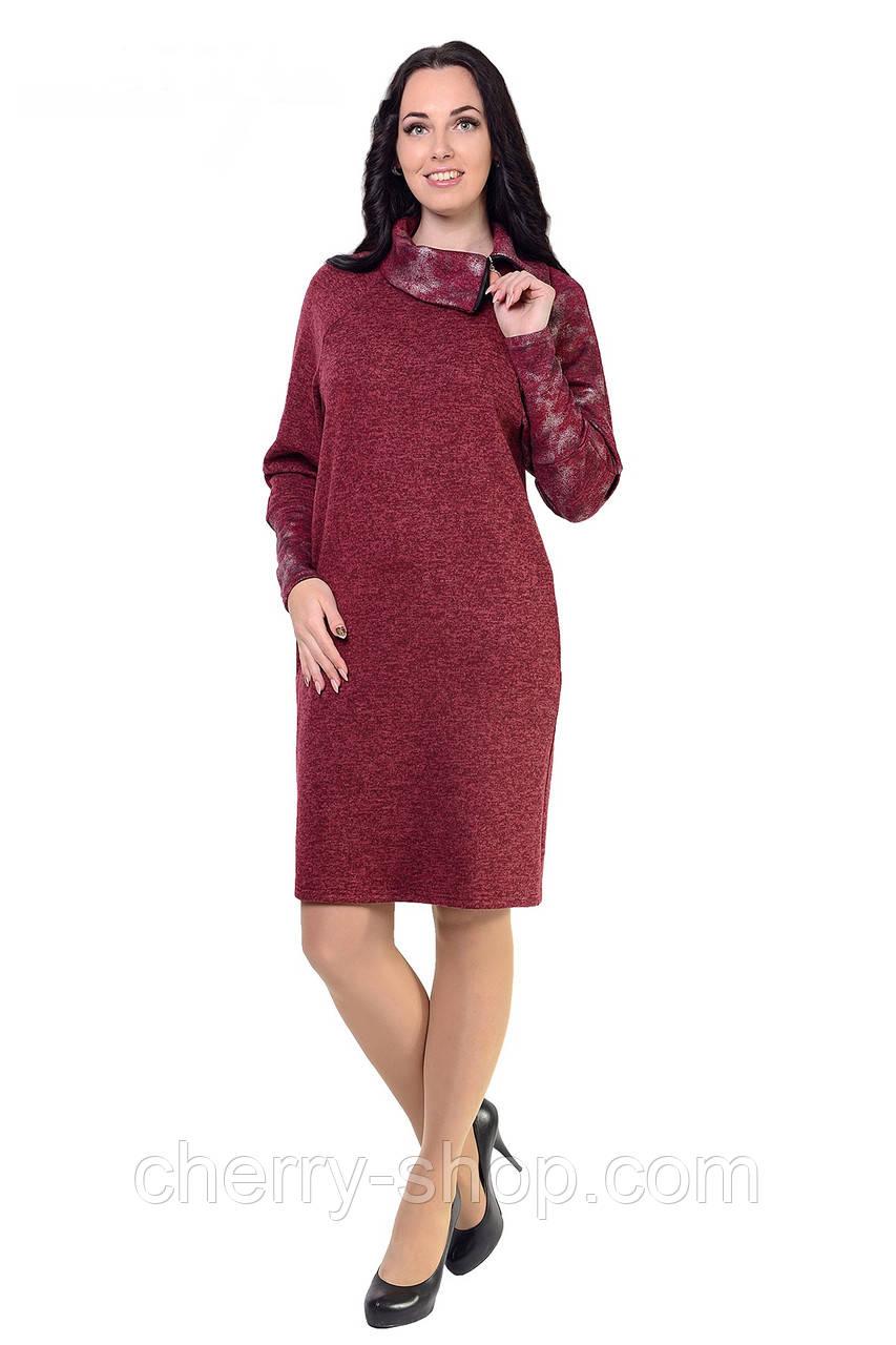 """Платье женское из трикотажной ткани """"ангора-меланж с начесом"""
