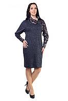 Трикотажне осіннє жіноче плаття напівприлягаючого силуету