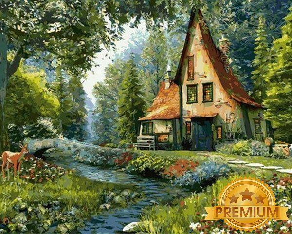 Картина по номерам 40×50 см. Babylon Premium (цветной холст + лак) Сказочный домик Художник Доминик Дэвисон (NB 918)