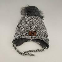 Детская зимняя шапка на завязках для мальчика (флис), р. 46-50 см/9-24 мес.