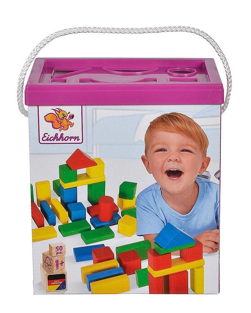 Игровой набор деревянные кубики в ведре 50 элементов Eichhorn 50161