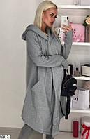 Пальто-кардиган женский демисезонный трехнить размер 42-46 универсальный