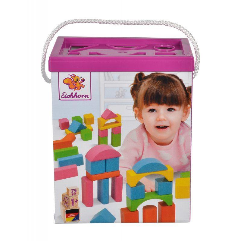 Игровой набор деревянные кубики в ведре 75 элементов Eichhorn 88011