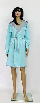 Теплый халат с капюшоном на запах хлопковый Украина
