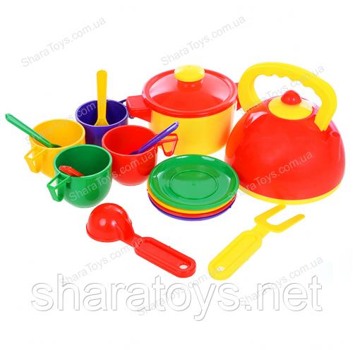 Набор игрушечной посуды с чайником и кастрюлей