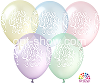 "Воздушные шары ""Happy Birthday на Pure Crystal"" 12""(30 см) Кристалл ассорти В упак: 100шт TM Kalisan"