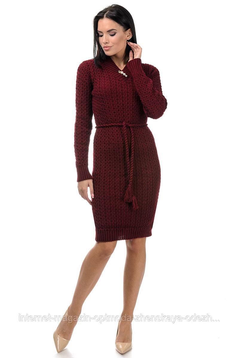Стильное полушерстяное вязаное женское платье с поясом, размер универсальный 42-48
