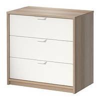 """IKEA """"АСКВОЛЬ"""" Комод с 3 ящиками, под беленый дуб, белый"""