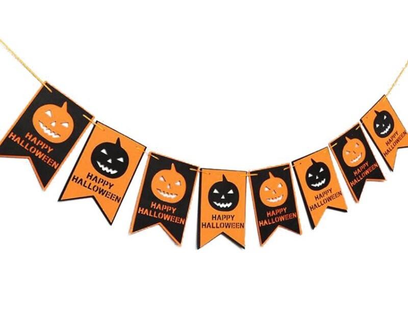 Гирлянда на Хэллоуин тыквы (флажки) 16 штук