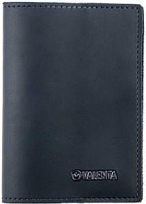 Кожаная обложка для паспорта Valenta Cиняя (ОУ-166 син.)