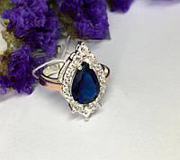Кольцо в серебре с синим камнем Мишель