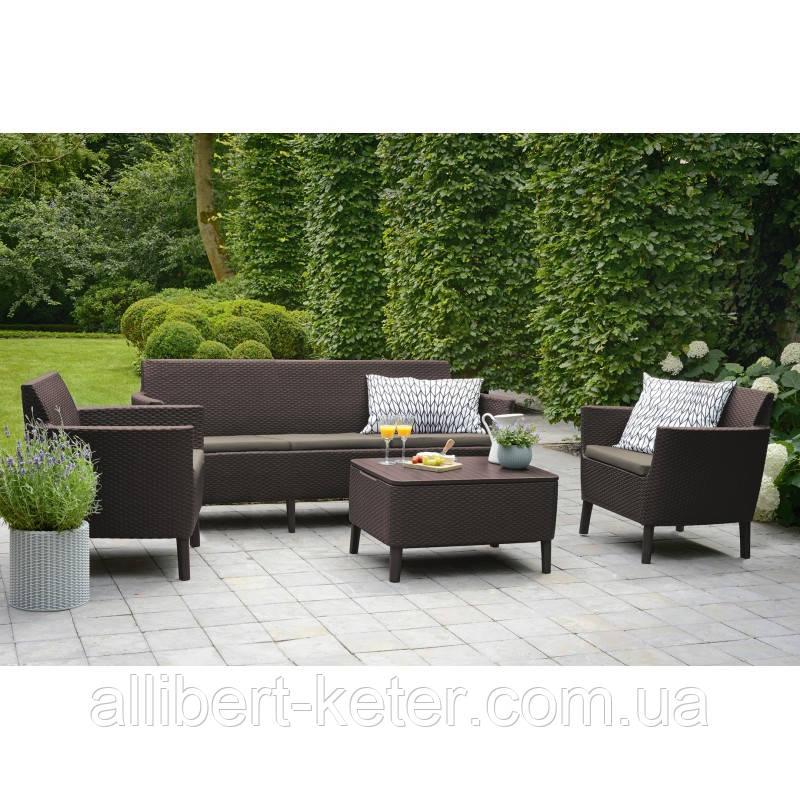 Набор садовой мебели Salemo 3 Seater Set Brown ( коричневый ) из искусственного ротанга, фото 1