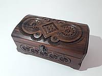Шкатулка сундук с фрезой резной деревянный 21х11 см.0017