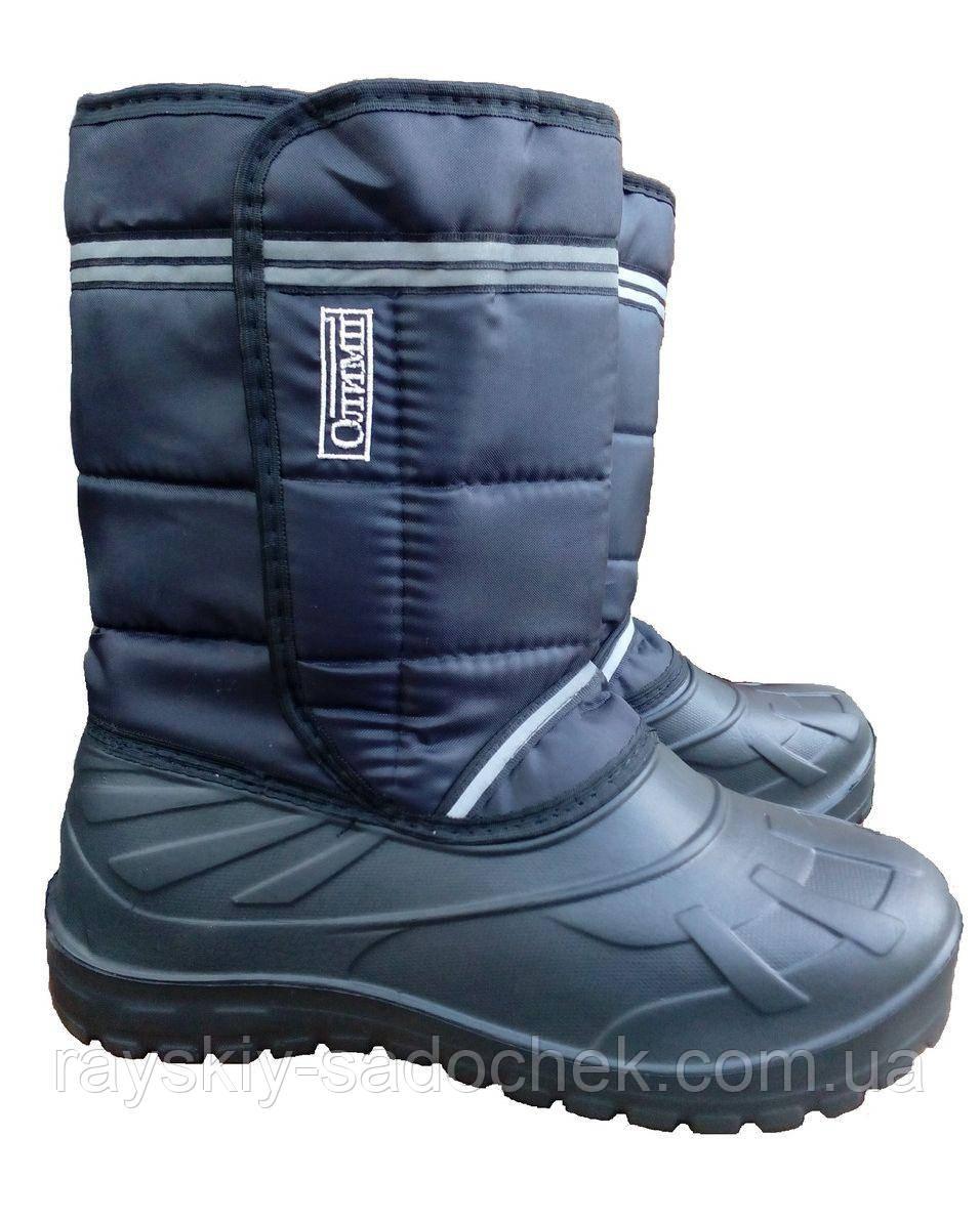 Зимние мужские сапоги на галоше из ПВХ Олимп Вставка размер 43-45 (комбик : галоша пвх+плащевка)