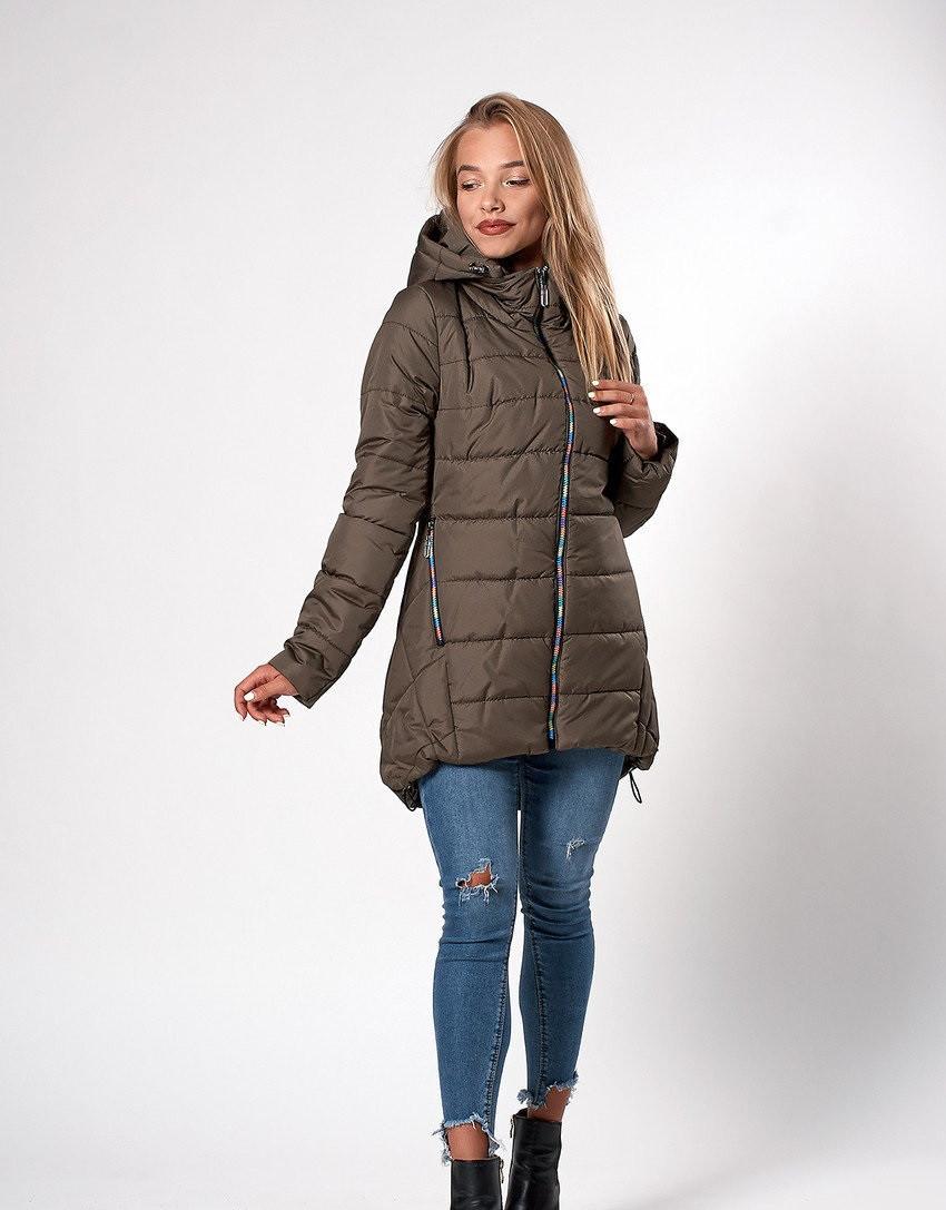 Женская молодежная демисезонная куртка. Код К-103-36-20. Цвет хаки.