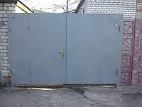 Ворота листовые с калиткой (распашные), фото 1