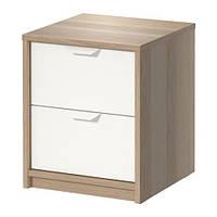 """IKEA """"АСКВОЛЬ"""" Комод с 2 ящиками, под беленый дуб, белый"""