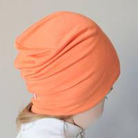 Детская демисезонная шапочка бини оранжевого цвета. Теплая осень. ОГ 48, 50, 52, 54 см, фото 1