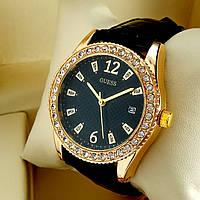 Женские кварцевые наручные часы Guess T32 (Гуэс) на кожаном ремешке, черный циферблат с датой, золото