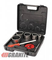 GRANITE  Набор корончатых сверл для плитки 5 шт 33-83 мм, вольфрамовое напыление + напильник, чемодан GRANITE, Арт.: 2-08-005