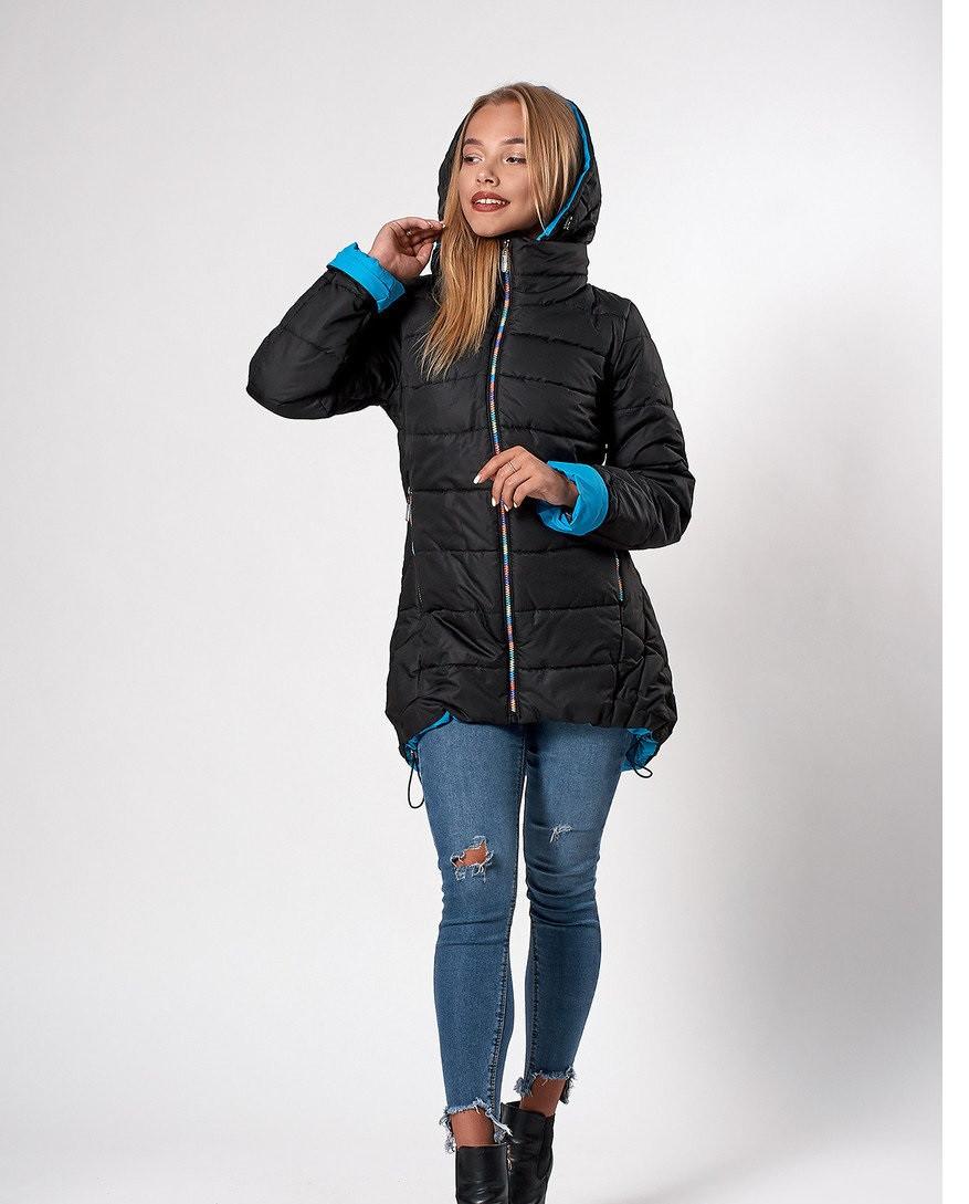 Женская молодежная демисезонная куртка. Код К-103-36-20. Цвет черный с голубым.