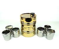 Бочка «Самогон» золотая - набор для спиртного, графин и рюмки