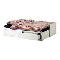 """IKEA""""БРИМНЭС"""" Каркас кушетки раскладной с 2 ящиками, белый"""