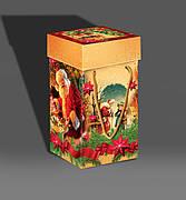 Упаковка праздничная новогодняя из картона Санта с подарками, до 1кг, от 50 штук