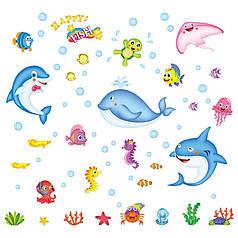 """Наклейка на стену, наклейка ванную, в детскую """"рыбки, черепахи Красного моря HEPPY Fish"""" 96*90см (лист50*70см)"""