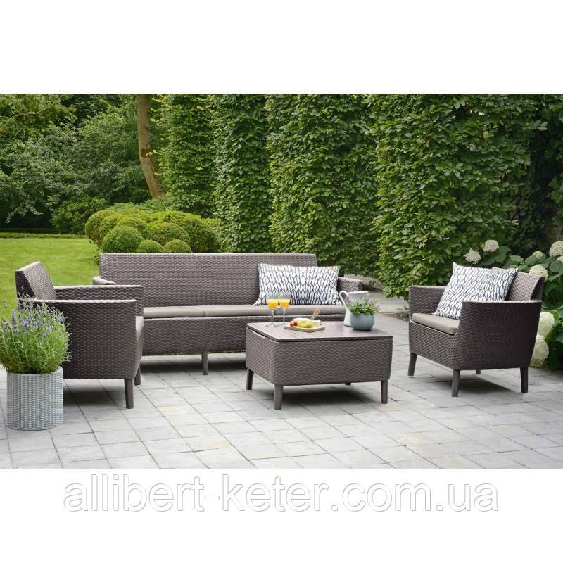 Набор садовой мебели Salemo 3 Seater Set Cappuccino ( капучино )  из искусственного ротанга