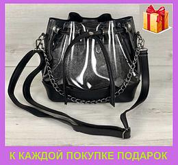 Молодежная прозрачная городская женская сумка Люверс прозрачный силикон Черная (23114)