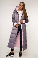 Пуховик женский зимний- теплый модный длинный женский пуховик 52размер