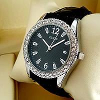 Женские кварцевые наручные часы Guess T32 (Гуэс) на кожаном ремешке, черный циферблат с датой, серебро