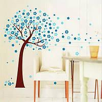 """Наклейка на стену, виниловые наклейки """"цветущее дерево голубое"""" Высота дерева 1м18см*1м50см (лист 60*90см)"""