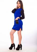 Платье Stereotip Платье с карманами и кожаными вставками Stereotip пт37 XL Электрик SKU_пт37
