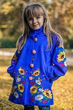 Кашемировое пальто с вышивкой для девочки р.134