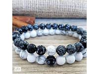 """Парные браслеты на руку ручной работы из натурального камня Обсидиан и Кахолонг """"Сила и нежность"""""""