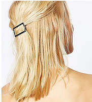 Заколка для волос фигура Прямоугольник (цвет золото или серебро), фото 1