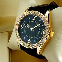 Женские кварцевые наручные часы Louis Vuitton T25 на кожаном ремешке, черный циферблат с датой, золото