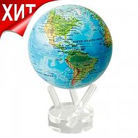 """Глобус самовращающийся левитирующий Mova Globe """"Физическая карта"""", голубой, диаметр 114 мм (США)"""